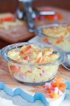Gratin de pâtes aux carottes et dés de jambon : http://unflodebonneschoses.blogspot.fr/2013/10/menu-cocooning-pour-moins-de-5-par.html