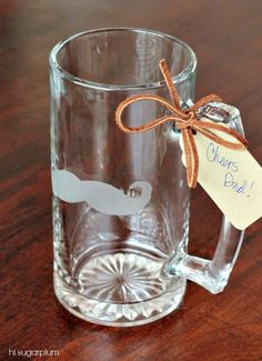 Hi Sugarplum | Etched Glass Mustache Beer Mug