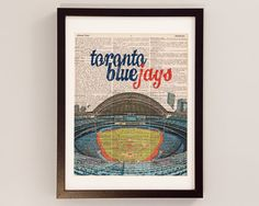Toronto Blue Jays Dictionary Art Print - Rogers Centre / Center - Print on Vintage Dictionary Paper - Baseball Art, Toronto Ontario