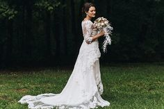 Lace wedding dress with long sleeves | see it all on www.onefabday.com