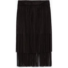 Zara Fringed Skirt ($70) ❤ liked on Polyvore featuring skirts, zara, fringe, black, black knee length skirt, black fringe skirt, black skirt, fringe skirt and zara skirts