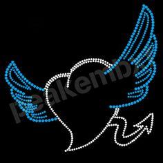 Heart Rhinestone Transfer Angel Wings Iron On