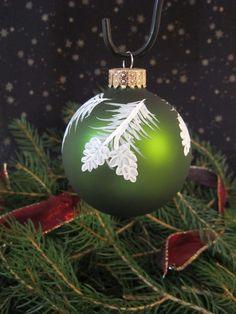 Handpainted Glass Christmas Ornament.