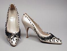 ~1958, Italy - Pair of Woman's Pumps by Carlos Gato de Lema - Silk satin, jet beads~