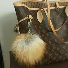 """Real Fox Fur Ball Keychan Genuine Fox Fur Pompon Fashion Real Fox Fur Ball Keychain Genuine Fox Fur Pompom Keychain Pendant Fox Fur Pompom Bag Accessoreis  ( this post is for just the Keychain pompom.  """" not the bag """" Accessories Key & Card Holders"""