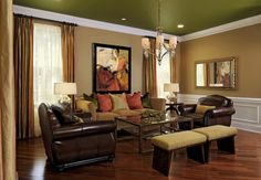 This neoclassic design living room captures my clients' personalities perfectly. They were nervous about the green ceiling but went forward. They now love it! Photographer ~ Bob Narod