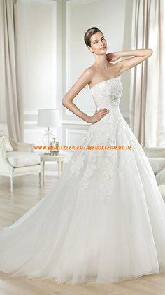 A-linie Schöne Preiswerte Brautkleider 2014 aus Organza mit Applikation