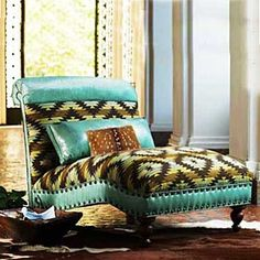 turquoise chaise from King Ranch Saddle Shop