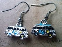 Bus-Ohrringe in 3D ~silber~