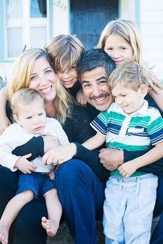 Amy and Pete Rocha outside their Berkeley, Calif. home with their four children, from left: Quinn, 1; Tomás, 8; Margaux, 6; and Leo, 3.