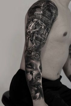 We want to share beautiful sleeve tattoos like this amazing piece to inspirate you. We did not draw this tattoo. Realistic Tattoo Sleeve, Full Sleeve Tattoo Design, Half Sleeve Tattoos Designs, Tattoo Designs, Samurai Tattoo Sleeve, Leg Sleeve Tattoo, Full Sleeve Tattoos, Forearm Tattoos, Body Art Tattoos