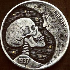 Original hobo nickel pain and pleasure hand carved 1937 buffalo coin. Artist Gabriele Perticaroli Hobo Nickel, Coin Design, Coin Art, Loch Ness Monster, Coins For Sale, Art Carved, Indian Head, Banksy, Design Elements