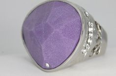 Bling Fashion Jewelry Bright Silver Frosted Purple Ring