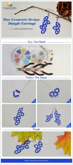 Blue bugBlue bugle geometric designs dangle earringsle geometric designs dangle earrings