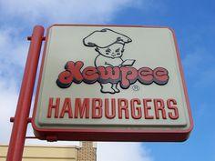 Kewpie's Hamburgers, Lima, Ohio. Hamburg, pickle on top, makes your heart go flippity flop.