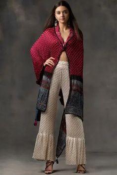 Buy Asymmetric Bandhani Cape by Twenty Nine at Aza Fashions Kurta Designs Women, Kurti Neck Designs, Stylish Dress Designs, Stylish Dresses, Indian Wedding Outfits, Indian Outfits, Fashion Show Dresses, Fashion Outfits, Printed Kurti Designs