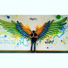 Images about #Dequete tag on instagram #graffitiart Images about #Dequete tag on instagram Graffiti Wall Art, Murals Street Art, Mural Wall Art, Mural Painting, Street Art Graffiti, Graffiti Images, Art Images, Mural Cafe, Angel Wings Art