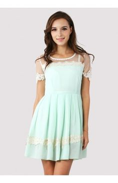 Dolly Floral Lace Trim Mint Dress - Retro, Indie and Unique Fashion
