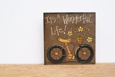 Wood Sign Bicycle Art Wooden Sign Country Home by Ramshackles