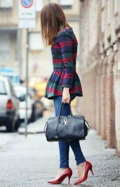 plaid peplum + skinny jeans + maroon pumps #BeWellHeeled