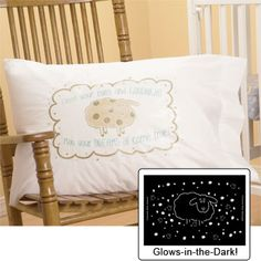 Counting Sheep Glow In The Dark Pillowcase.      Counting Sheep Everyone will have sweet dreams with this adorable pillowcase! The glow in the dark design includes lots of sheep & stars to count when the lights go out! Fits standard size pillows.