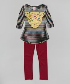 Look at this Yellow Stripe Leopard Tunic & Red Leggings - Girls on #zulily today!