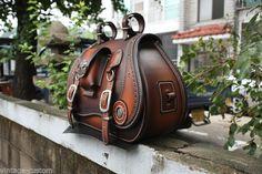 hand-made custom SaddleBag leather brown saddle bag softail chopper motorcycle