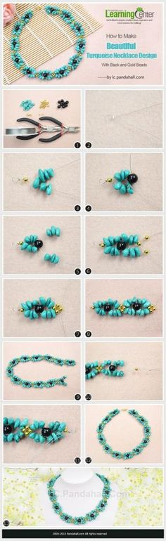 How to Make Beautiful Turquoise Necklace Design with Black and Gold Beads by Jersica
