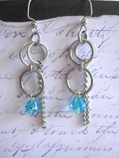 Turquoise colored glass beads and aluminum ring earrings!  $15 #earrings #fashion
