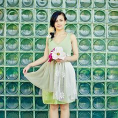 Upcycled Wedding Bridesmaid Dress Cream Ivory Green Floral Print Short Tattered Repurposed Recycled Mori Girl Woodland Country on Etsy, $148.00