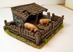 A great place to stay. Back in the early years of the USA the State of Ohio and Michigan Territory nearly came to blows over pigs. Village Miniature, Miniature Crafts, Miniature Houses, Christmas Nativity Scene, A Christmas Story, Minecraft, Dnd Mini, Bird House Feeder, Medieval Houses