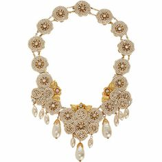 Vintage Crystal & Pearl Circle Link Necklace at Barneys.com. Inspired by the glamorous, vintage collections of the celebrated Miriam Haskell, this Russian gold-plated necklace features circular links of Swarovski crystals and concentric pearl frames.  Lustrous pearl droplets and golden floral leaf findings lend the stylish eccentricity Haskell was known and loved for.