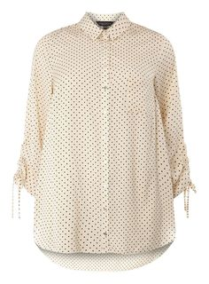Womens DP Curve Plus Size Ivory Draw Cord Shirt- White