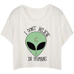White Loose Alien Printed Ladies T-shirt