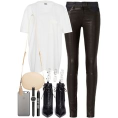 Outfit with leather trousers by ferned on Polyvore featuring Band of Outsiders, rag & bone, Sergio Rossi, MANGO, J.Crew, Miss Selfridge, Native Union and Lord & Berry