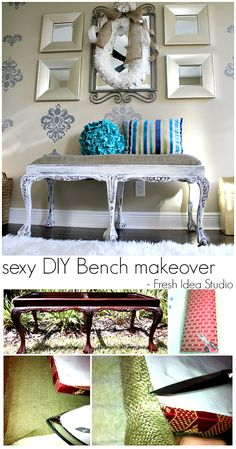 "Style a sexy DIY Bench makeover - ""Romantic"" Themed Furniture Makeover Day"