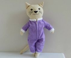 Rag Doll Cat in Onesie Pajamas Wool Cat Doll Gift for Girl
