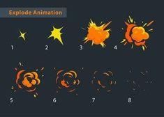Explode effect animation Animation Pixel, Animation Storyboard, Animation Reference, Art Reference, Sketch Design, Web Design, Game Design, Design Art, 2d Game Art