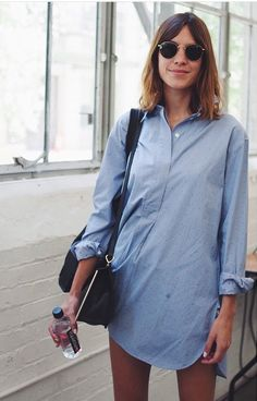 Alexa Chung oversized denim shirt dress.
