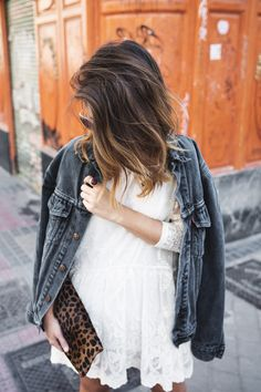 white dress, gray denim jacket