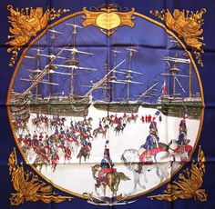 "Fabulous VERY RARE Historical Hermes Paris Silk Scarf - ""Marine et Cavalerie""   eBay"