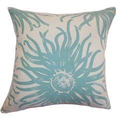 Ndele Floral Down Filled Throw Pillow Aqua