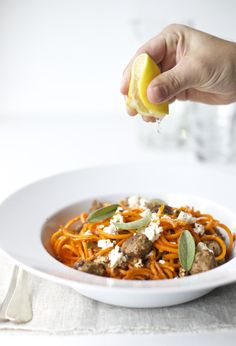 Butternut squash spaghetti with feta cheese meatballs and sage