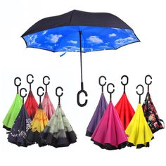 Windproof C-Hook Hands Reverse Folding Double Layer Inverted Umbrella Self Stand Inside Out Rain Protection Umbrella