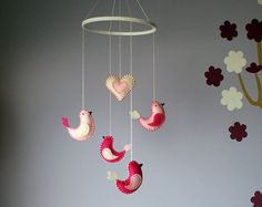 bird baby mobile crib decor - in raspberry pink