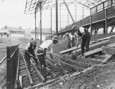 Men at work: In 1924 work began on the newly designed Crystal Palace ground, Selhurst Park. The site used was bought for just £2,570 and was opened by the Mayor of London in August 1924.
