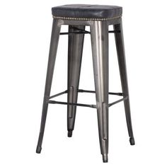 Metropolis PU Leather Metal Backless Bar Stool, Vintage Black (Set of 4)