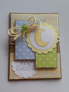 Sweet New Baby card with a moon by DBCraftyTreasures on Etsy