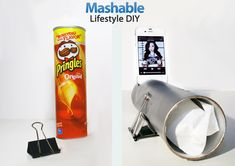 Turn a Pringles can into a low-cost amplifying phone speaker with this fun do-it-yourself (DIY) project. This amplifying speaker will give your music extra volume and a crisper,. Homemade Speakers, Diy Speakers, Diy Cell Phone Stand, Phone Holder, Iphone Stand, Pringles Original, Pringles Can, Diy Cadeau, Before And After Diy