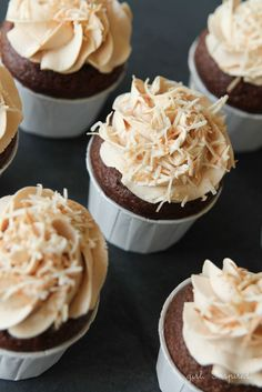 filled German Chocolate cupcakes with caramel buttercream - these are amazing.: filled German Chocolate cupcakes with caramel buttercream - these are amazing. Köstliche Desserts, Delicious Desserts, Awesome Desserts, Plated Desserts, Mini Cakes, Cupcake Cakes, Cupcake Recipes, Dessert Recipes, Yummy Treats